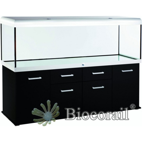 Aquarium 960 l et meuble noir design vie biocorail for Meuble aquarium design